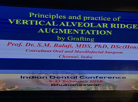 "Dr. Balaji's keynote speech on ""Principles and Practice of Vertical Ridge Augmentation by Grafting"" at the IDC Conference in Bhubaneswar"