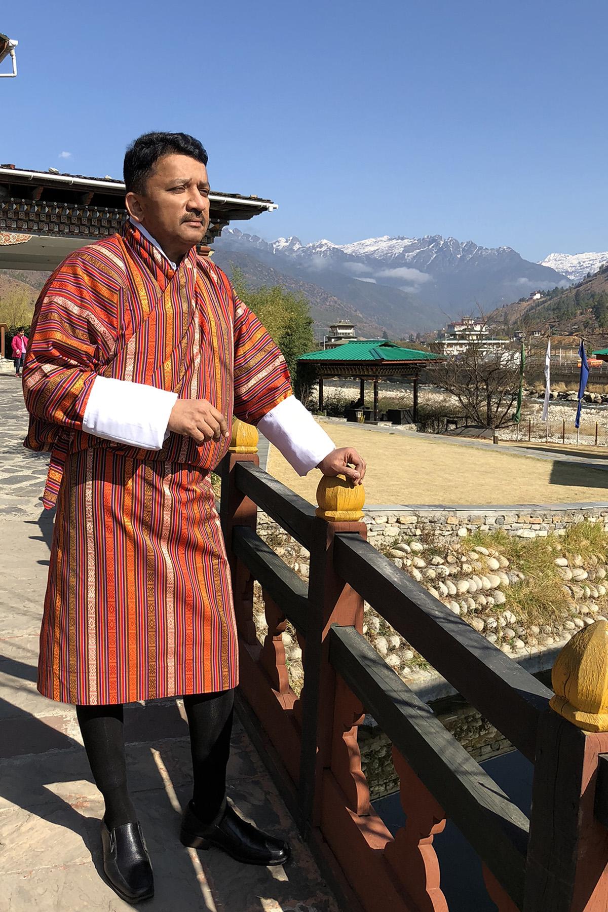 Dr S M Balaji attired in the Gho Kera, the national attire for men in Bhutan