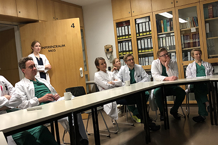 Case discussion before morning ward rounds at the Charite