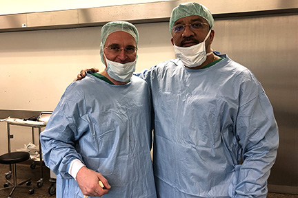 Prof S M Balaji with Prof Nicolai Adolphs outside the Operating Room at the Charite Universitatsmedizin Berlin