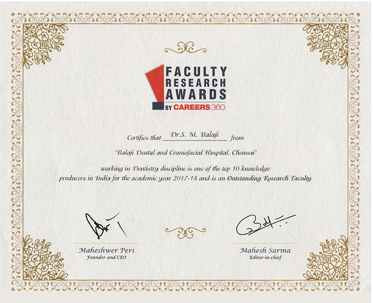 Research Faculty Award - Prof. Dr. S.M Balaji