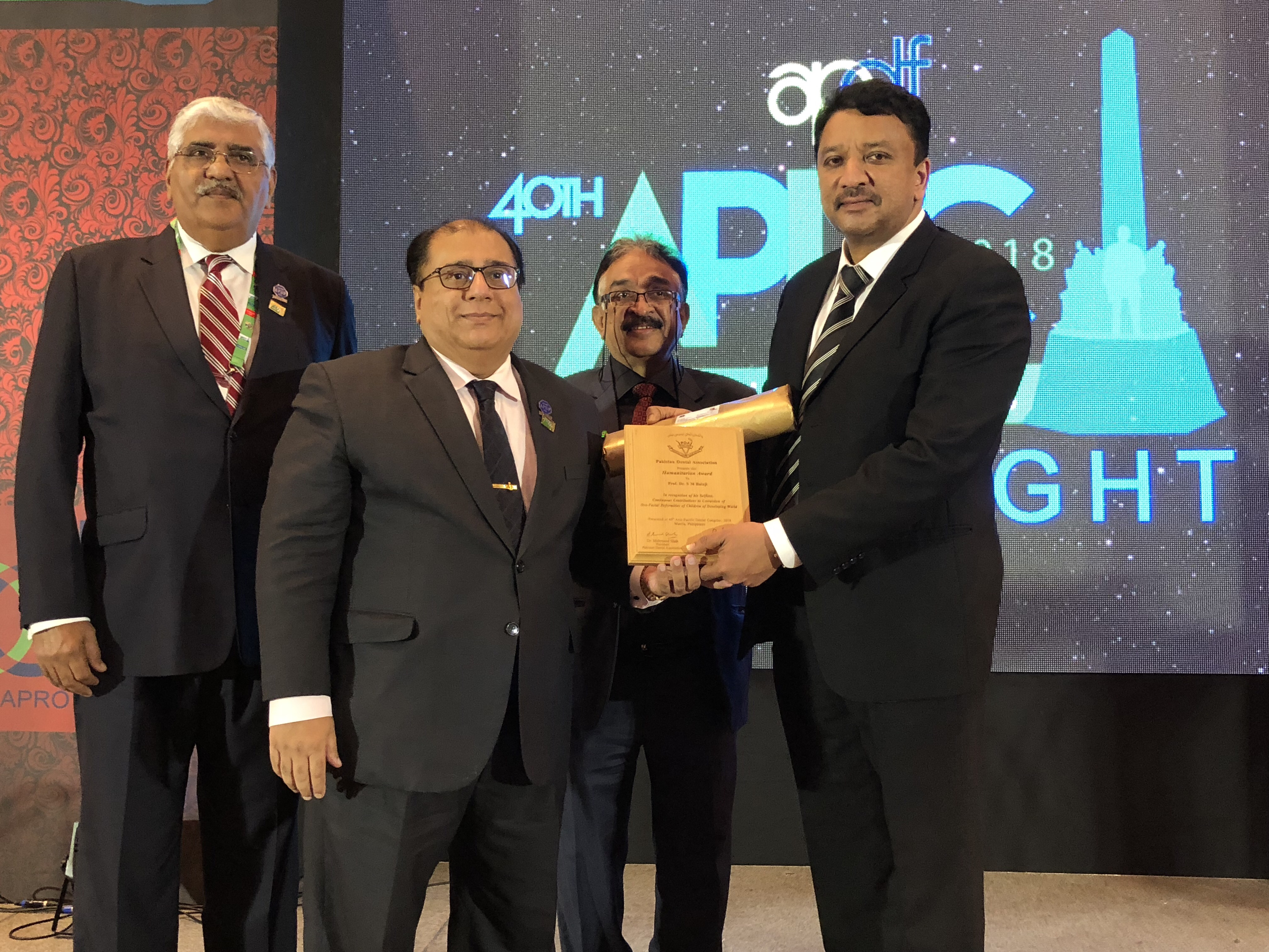Prof SM Balaji with Dr Arain, Dr Shah and Dr Khan at the awards ceremony