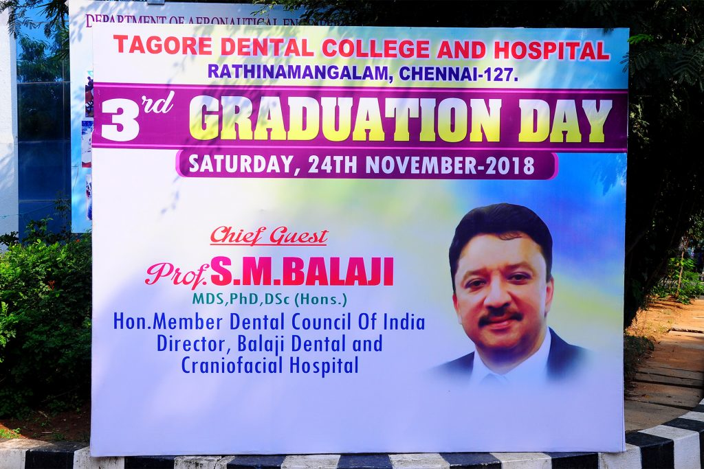 Dr SM Balaji invited to be the chief guest at the 3rd Graduation Day of Tagore Dental College