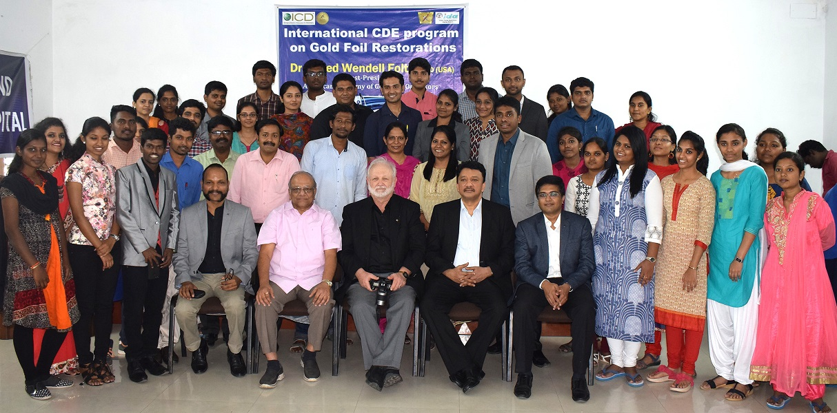 A photograph of the organizers and participants commemorating the CDE program on direct gold restorations conducted by the Indian Academy of Gold Foil Operators and the IDA-Madras Branch at Balaji Dental and Craniofacial Hospital, Teynampet, Chennai