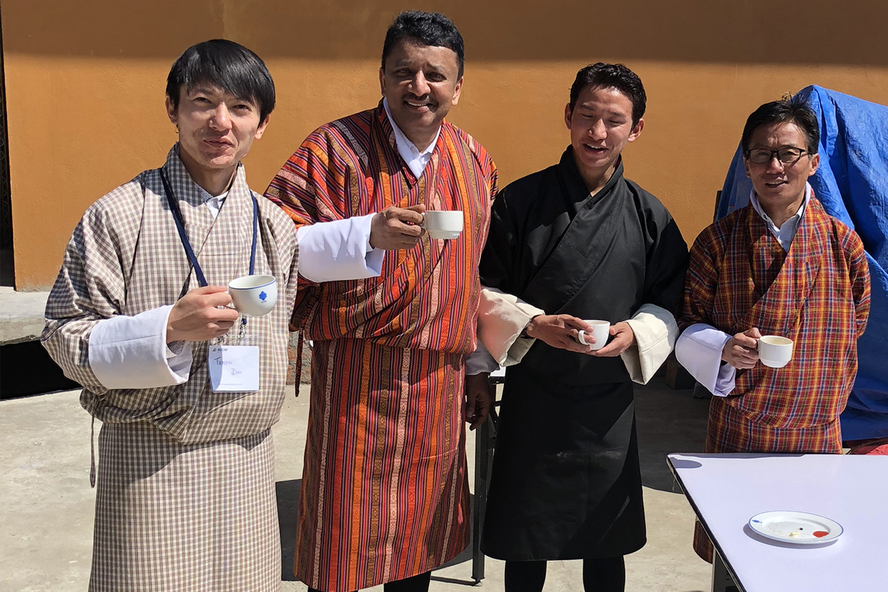 Prof S M Balaji at a Bhutanese tea drinking ceremony drinking Suja, the traditional Bhutanese butter tea