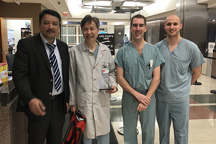 Prof S M Balaji with Dr Fung and residents at the beginning of ward rounds at the hospital