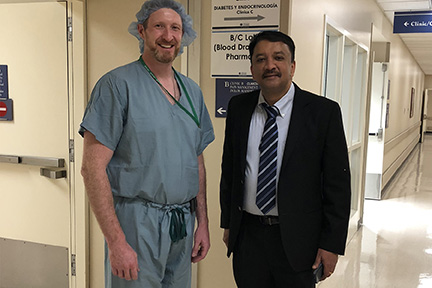 Dr S M Balaji with Dr James Murphy during his visit to the Stroger Hospital of Cook County, Chicago