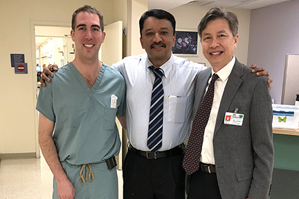Prof S M Balaji with Dr Henry Fung and a resident before his departure from Stroger Hospital of Cook County, Chicago