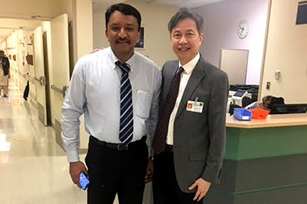 Prof S M Balaji with Dr Henry Fung just before his departure from the Stroger Hospital of Cook County