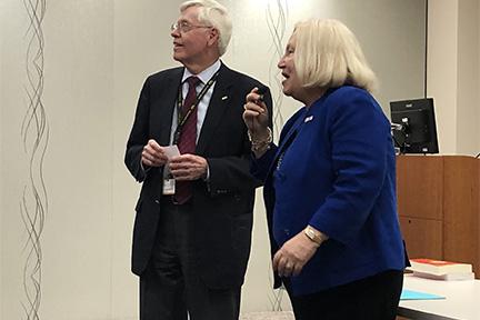 Prof Kathryn Kell and Prof David Johnsen at the Galagan Auditorium