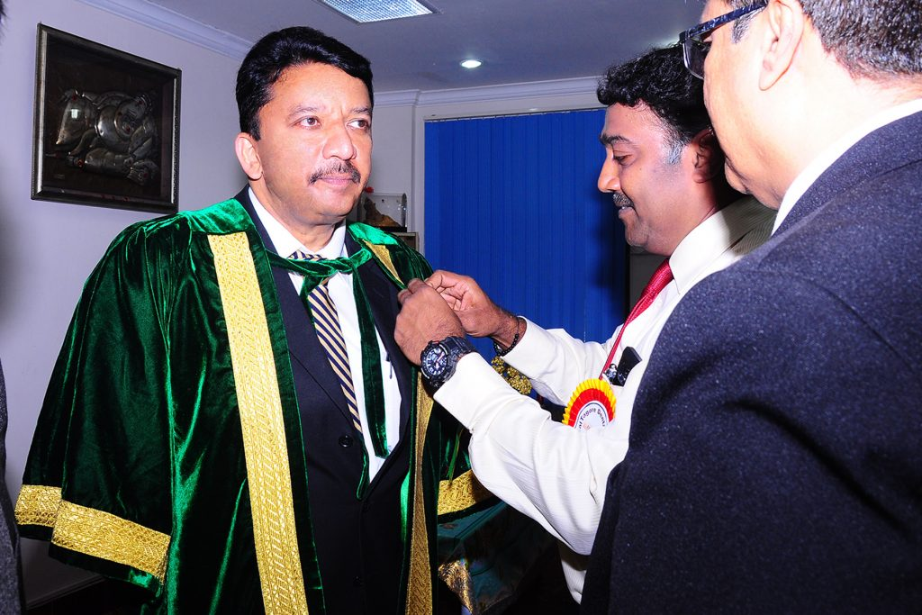 Dr SM Balaji at preparations for the convocation ceremony